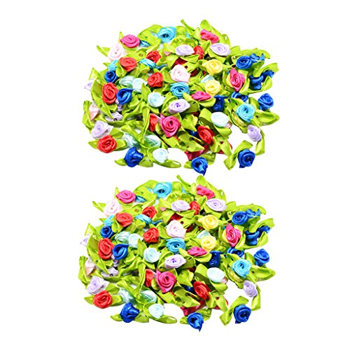Baoblaze 200 Pieces Mini Satin Ribbon Rose Bud Flower with Green Leaves Sewing Applique Craft DIY Decorations/Girls Hair Accessories/Scrapbooking/Card Making