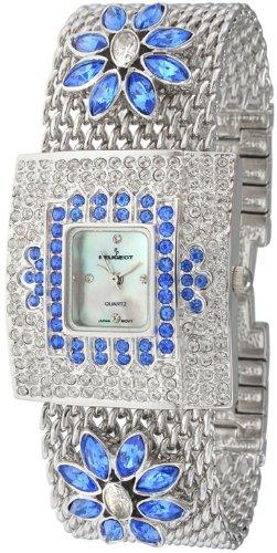 - Peugeot Women's J5135BL Silver-Tone Swarovski Crystal Blue Flower Mesh Bracelet Watch