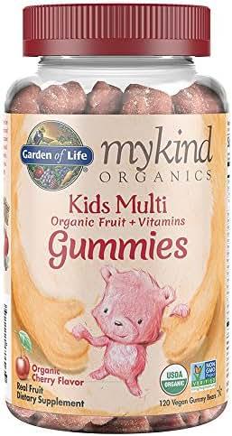 Garden of Life - mykind Organics Kids Gummy Vitamins - Cherry - Certified Organic, Non-GMO & Vegan Complete Children's Multi - B12, C & D3 - Gluten, Soy & Dairy Free - 120 Real Fruit Chew Gummies