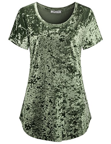 Pretty Lady Green - SeSe Code Velvet Blouse, Women Short Sleeve Casual Top Elegant Pretty Utility Shirt Semi Formal Wear Soft Slimming Flare Draped Flowy Tunic Army Green L St Patricks Day Outfit