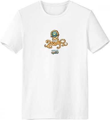 DIYthinker Modelo anaranjado pulpo vida marina de cuello redondo camiseta blanca de manga corta Comfort camisetas deportivas de regalos - Multi - Grande: Amazon.es: Ropa y accesorios