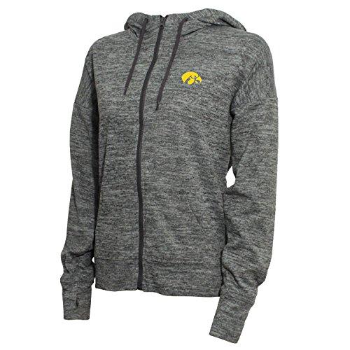 NCAA Iowa Hawkeyes Women's Zip Front Drawstring Hoodie, Small, Marled (Iowa Womens Hoody Zip Sweatshirt)
