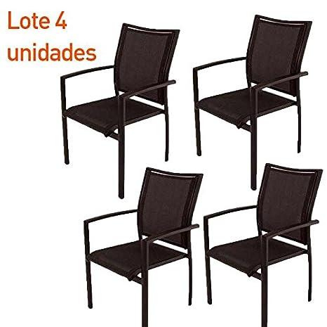 Lote 4 sillones terraza apilables aluminio y textilene negro ...