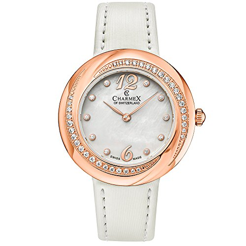 Charmex Women's Deauville 34mm White Leather Band Steel Case Sapphire Crystal Quartz MOP Dial Watch 6360