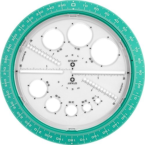Helix 360 Degree Angle and Circle Maker with Integrated Circle Templates, 6 Inch / 15cm, Assorted Colors (36002) by Maped Helix USA (Image #1)