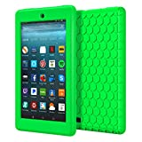 MoKo Case for All-New Amazon Fire 7 2017 (7' Tablet, 7th Generation, 2017 Release Only) - [Honey Comb Series] Light Weight Shock Proof Soft Silicone Back Cover [Kids Friendly] for Fire 7, GREEN
