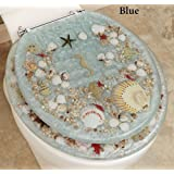 Seashell and Seahorse Resin Toilet Seat Standard (Blue)