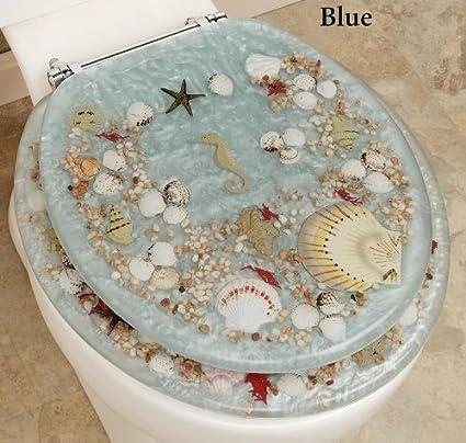 Awe Inspiring Popular Bath Seashell And Seahorse Resin Toilet Seat Standard Size Blue Beatyapartments Chair Design Images Beatyapartmentscom