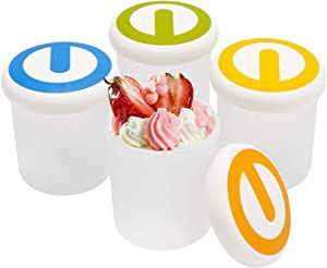 Ice Cream Containers 7 oz, Beasea 4pcs Ice Cream Yogurt Cups Ice Cream Freezer Containers with Lids, Reusable Pint Frozen Dessert Containers for Ice Cream, Meal Prep, Soup and Food Storage