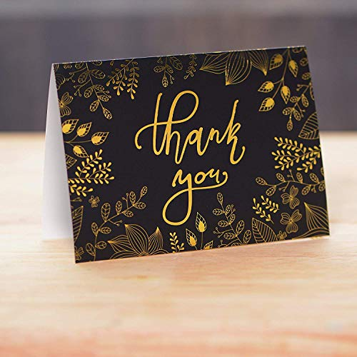 50 Thank You Cards with Gold Floral Script Black Photo #8