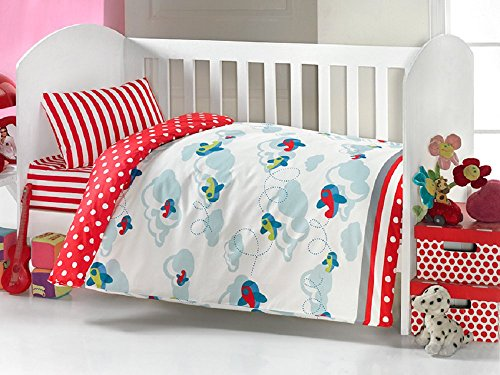 Brielle Baby Duvet/Quilt Cover Set Bedding Set 100% Ranforce Cotton Turkish Cotton Comforter Cover Toddler Infant Bedding Sheet Set 3 Pieces (red white blue airplanes) 451 v1 - Infant Toddler Quilt