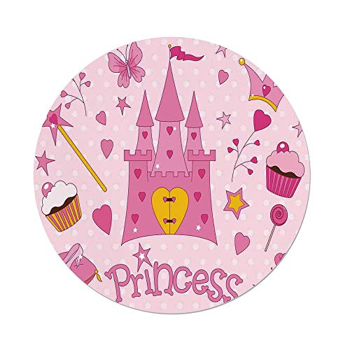 Polyester Round Tablecloth,Kids,Little Princess Tiara Slippers Fairy Castle Butterfly Heart Lollipop Wand Cupcake Girls Party Print Decorative,Dining Room Kitchen Picnic Table Cloth Cover,for Outdoo