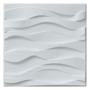 "Art3d Decorative 3D Wall Panels Wavy Wall Design,19.7""x19.7"" Matt White (12 Pack)"