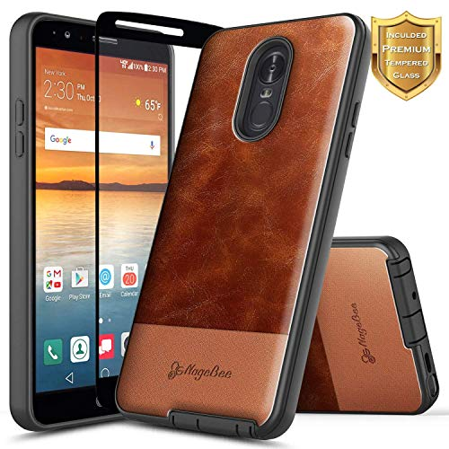- LG Q7+ Plus Case with Tempered Glass Screen Protector (Full Coverage), NageBee Snap-On Premium Cowhide Leather Heavy Duty Shockproof Hybrid Rugged Durable Case for LG Q7 /Q7+ /Q7 Plus -Brown