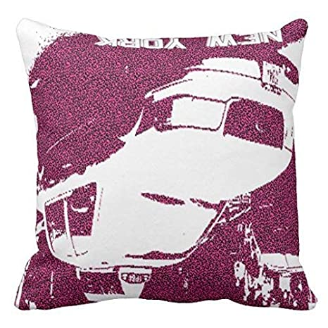 yting Cojín de Tela Pink Taxi NY Leopard Throw Pillow Case ...