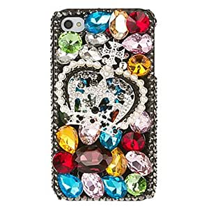 Crown Pattern Irregular Shape Multicolor Crystal Covered Back Case for iPhone 4/4S