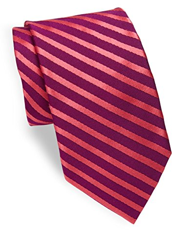 Ike Behar Men's Narrow Rep Stripe Silk Tie, OS, Berry Coral (Stripe Rep Tie)