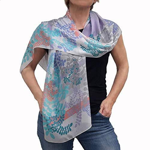 Women Birthday Gift, Artistic Chiffon Scarf, Long Silk Scarves, Rectangle Scarfs for Hair, Lightweight Designer Shawl for Women in Live Coral and Turquoise