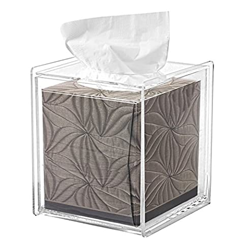 Square Clear Acrylic Bathroom Tissue Box Cover and Napkin Dispenser Holder (Acrylic Boxes Small)
