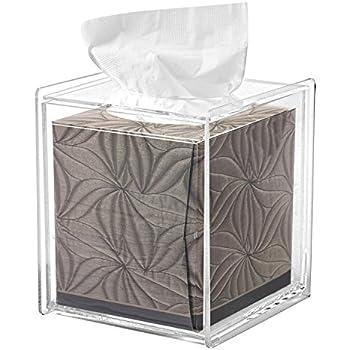 square clear acrylic bathroom tissue box cover and napkin dispenser holder