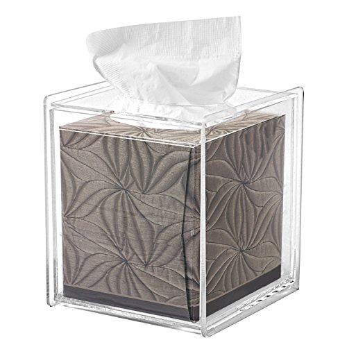 Square Clear Acrylic Bathroom Tissue Box Cover and Napkin Dispenser Holder (Plastic Toilet Dispensers Tissue)
