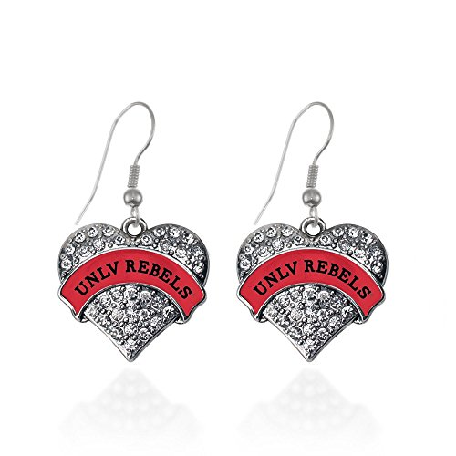 - UNLV Rebels Pave Heart Earrings French Hook Clear Crystal Rhinestones