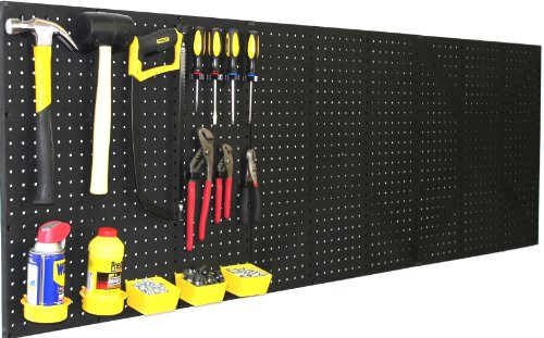 WallPeg (4) Black Plastic Pegboard Panels - 96