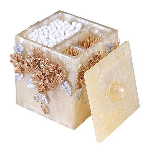 Q-Tip cotton swab Storage Box with Lid, Cotton Ball Swab Holder Cotton Bud Storage Box Toothpicks Case Dispenser Storage Organizer Box (Gold)