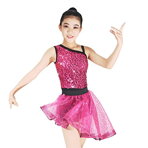 Dance Two Piece Costumes (MiDee 2 Pieces Dance Costume Highlow-neck Sequined Biketard with High-low Fully Sequins Skirt (SA, Cerise))