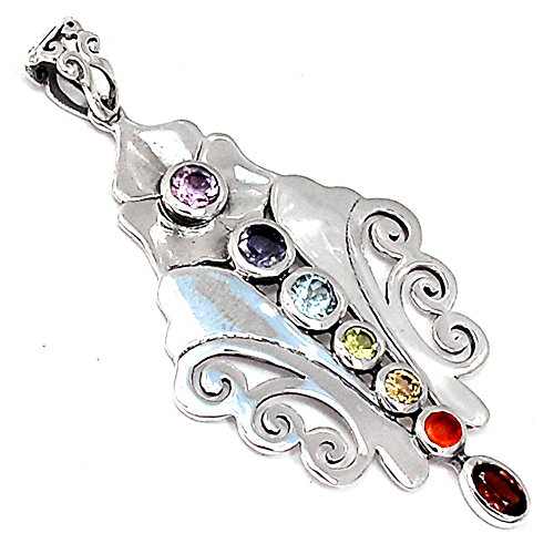 Xtremegems Healing Chakra 925 Sterling Silver Pendant Jewelry 2 1/8 CP230 from Xtremegems
