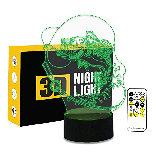 (Circle Circle Bubble Fish 3D Optical Illusion Lamp 7 Colors Change Touch Button and 15 Keys Remote Control LED Table Desk Lamp for Home Bedroom)