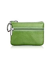 MuLier Genuine Leatherr Zipper Pocket Change Coin Purse Keychain Key Ring Case Green