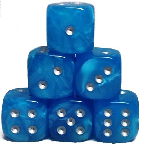 - Custom & Unique {Large 20mm} 6 Ct Pack Set of 6 Sided [D6] Square Cube Shape Opaque Playing & Game Dice w/ Rounded Corner Edges w/ Agate Stone Swirl Pearl Two Tone Gloss Design [Blue & Silver]
