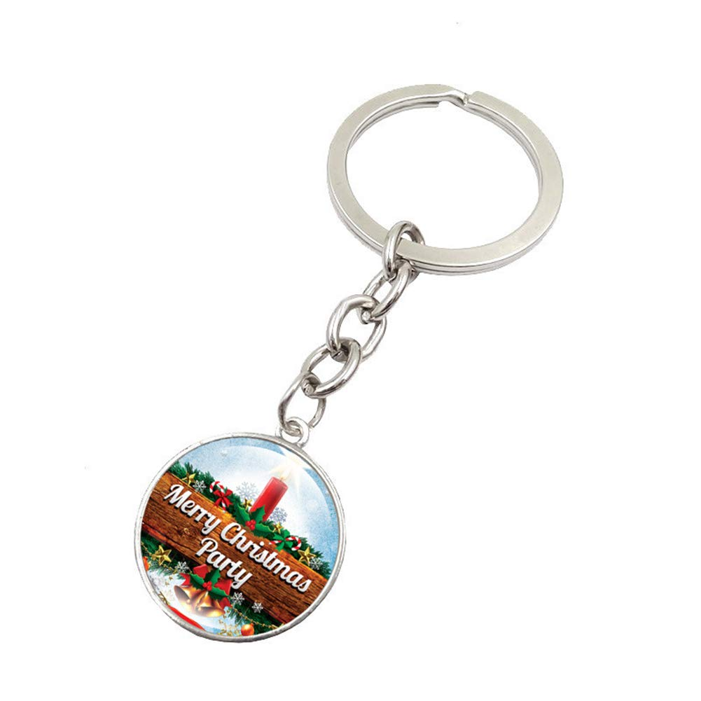 Bangle009 Christmas Pattern Round Glass Pendant Keyring Car Key Chain Handbag Decor Gift 1#