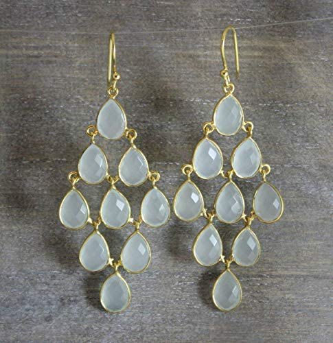 Aqua Chalcedony Waterfall Gold Plated Sterling Silver Earrings