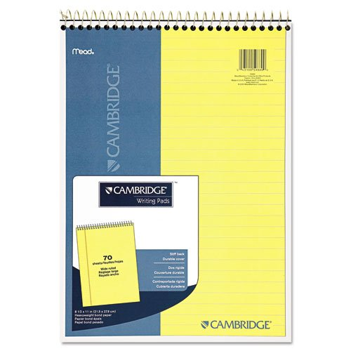 Cambridge Legal Pads - Premium Wirebound Legal Pad, Legal Rule, 8 7/8 x 11, Canary Paper, 70 Sheets, Sold as 1 Each