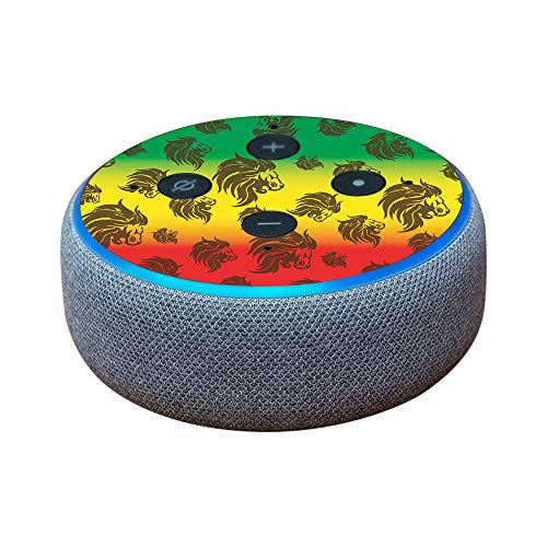 MightySkins Skin for Amazon Echo Dot (3rd Gen) - Rasta Lion | Protective, Durable, and Unique Vinyl Decal wrap Cover | Easy to Apply, Remove, and Change Styles | Made in The USA