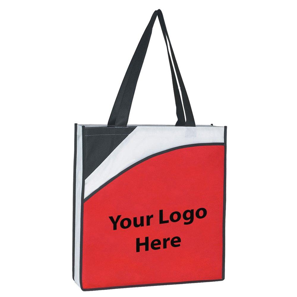 会議トートバッグ – 100数量 – $ 1.99各 – プロモーション製品/バルク/ブランドロゴ/でカスタマイズされた AMZN-HP3032-6  レッド/ブラック B01B0FFPB2