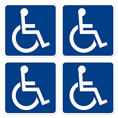 Handicap Decal - dealzEpic - Access Sign Handicapped Disabled Sign | Self Adhesive Vinyl Decal Sticker | Pack of 4 Pcs