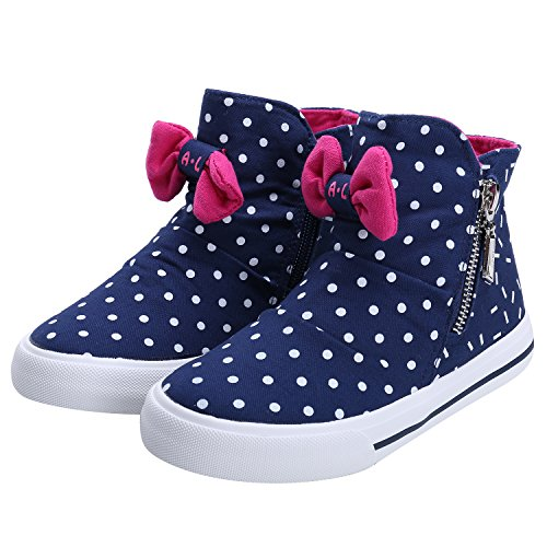 PETIT BARI Girl's Shoes Lovely Polka Dot Zipper High Top Canvas Sneakers Blue 28 M EU/11 M US Little Kid