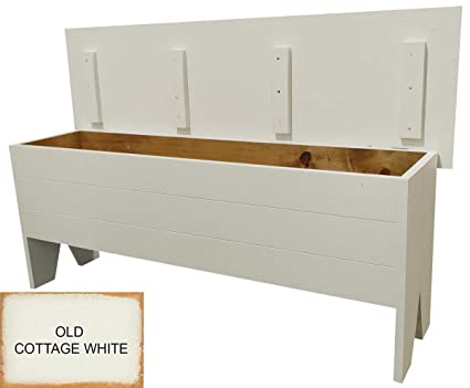 Sawdust City Wooden Storage Bench 4u0027 Long (Old Cottage White)