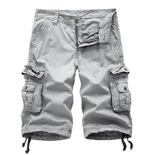 Hycsen Men's Casual Loose Fit Cargo Shorts, Straight Multi-Pocket Cotton Outdoor Wear-Grey-38 ()