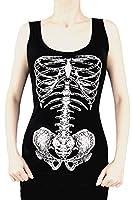 Restyle Skeleton White Tank Top Skelett Bones Steam Punk Shirt - Girlie Gothic Schwarz
