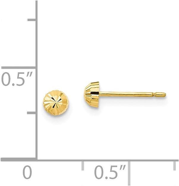 Mia Diamonds 14k Yellow Gold Gold Diamond-cut 5mm Domed Post Earrings