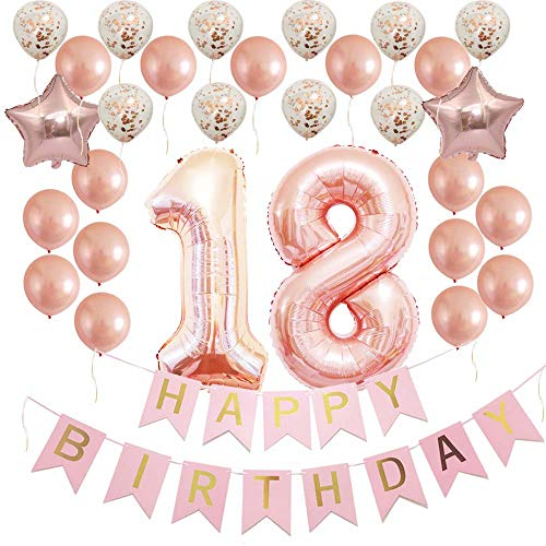 Rose Gold Happy 18th Birthday Decorations Party Supplies Kit Gifts for Girls, Women-Happy Birthday Banner, 18 Number, Confetti Latex Balloons as Favors,Photo Booth Props and Backdrop]()