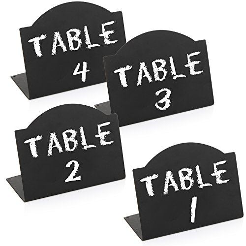 Freestanding Black Metal Erasable Chalkboard Place Card Signs, Small Memo Boards, (Set of 4) by MyGift