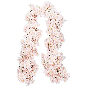 CEWOR 4pcs Artificial Cherry Blossom Flower Vines Hanging Silk Flowers Garland for Wedding Party Home Decor (Pink, Pack of 4) 5