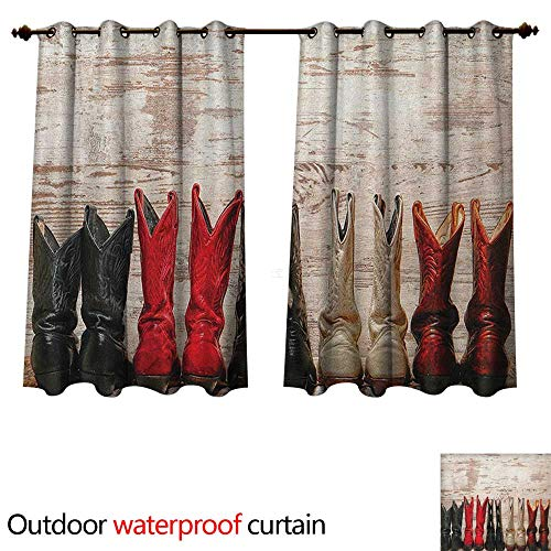 Anshesix Western Outdoor Balcony Privacy Curtain American Legend Cowgirl Leather Boots Rustic Wild West Theme Cultural Print W63 x L72(160cm x - Belt Pleats Leather
