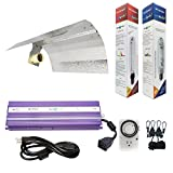 Hydroplanet&Trade; Horticulture 1000w Hydroponic 1000w Watt Grow Light Digital Dimmable Ballast HPS Mh System Kit for Plants Gull Wing Reflector Hood Set (1000w)