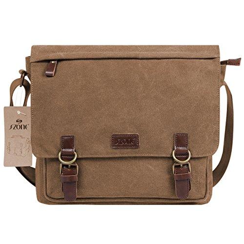 S-ZONE Vintage Canvas Messenger Bag School Shoulder Bag for 13.3-15inch Laptop Business Briefcase